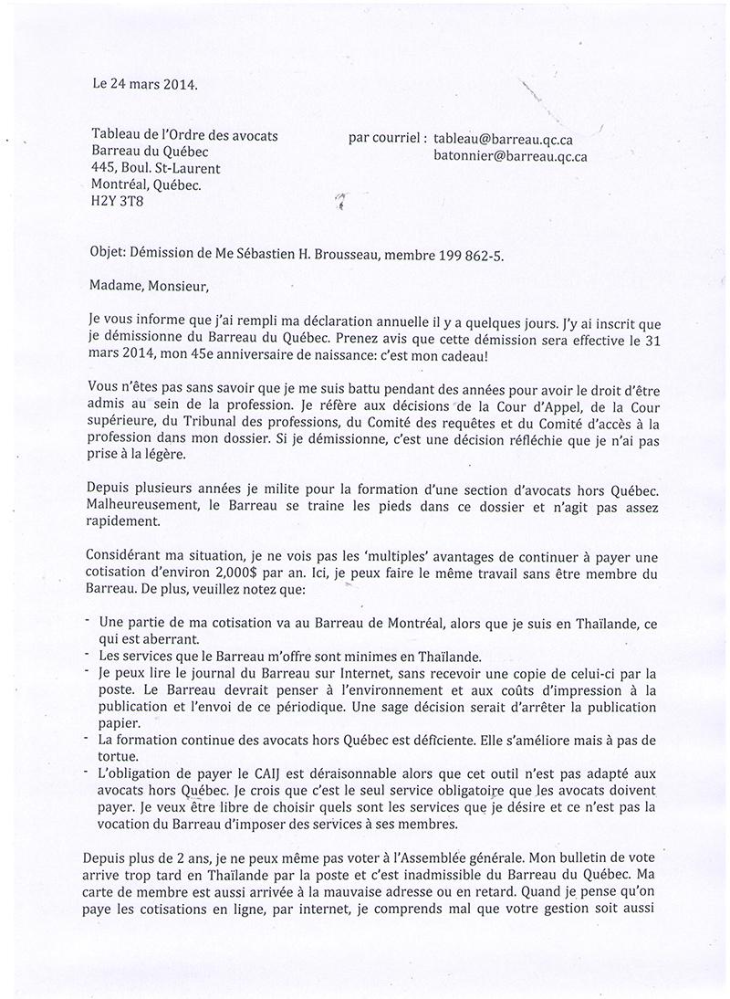 lettre de démission québec Cotisation trop chère, il démissionne! | Droit Inc. lettre de démission québec