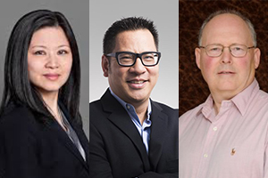 Hilda Wong, Peter Nguyen, conseiller juridique, et Bruce Wildsmith, avocat. Sources : Sites Web de First National Financial, Resolver et l'Assemblée des chefs Mi'maq