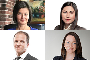 Rebeka Breder, Jaimie Lickers, Michael Feder et Trina Fraser. Sources : Sites Web de Breder Law, Gowling, McCarthy Tétrault et Brazeau Seller