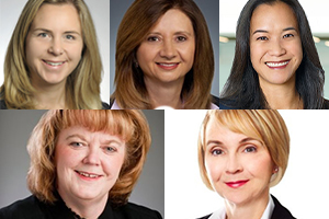 Stacy McLean, Gail Harding, Cecile Chung, Paulina Hiebert et Christa Wessel. Photos : Sites Web de Blakes et de Toronto Global, et LinkedIn de Gail Harding, de Paulina Hiebert et de Christa Wessel