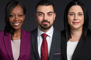 Mes Martine Musau, Anthony Pierre Freiji et Sandra Daudelin. Photos : Site Web de DHC Avocats