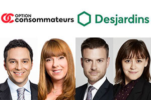 My Maxime Nasr and Violette Leblanc represented Option Consommateurs and My Vincent de l'Étoile and Sandra Desjardins represented Desjardins.  Photos: Option Consommateurs, Desjardins, Belleau Lapointe and Langlois websites