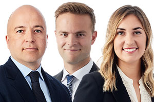 My David Massé, Antoine Champagne, Gabrielle Daoust were among the lawyers representing Alithya.  Photos: Stikeman website